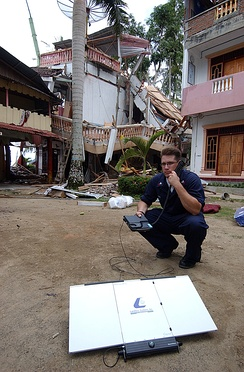 Satellite phone (Inmarsat) in use in Nias, Indonesia in April 2005 after the Nias–Simeulue earthquake