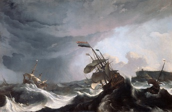 Ludolf Bakhuizen, Dutch warships in trouble off Gibraltar, a real incident of 1690