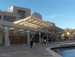 The public entrance of the Scottish Parliament building, opened in October 2004.