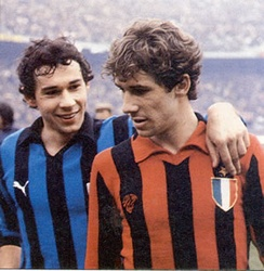 Brothers Giuseppe (left) and Franco (right) Baresi face each other in the 1979–80 Milan derby