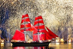 Scarlet Sails celebration on the Neva River in Saint Petersburg