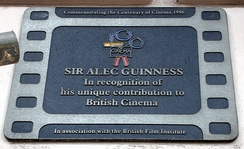 Plaque installed by the British Film Institute in the City of Westminster, London in recognition of Guinness's contribution to British cinema