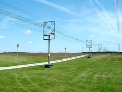 A type of transmission line called a cage line, used for high power, low frequency applications. It functions similarly to a large coaxial cable. This example is the antenna feed line for a longwave radio transmitter in Poland, which operates at a frequency of 225 kHz and a power of 1200 kW.