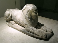 An early Egyptian sphinx, Queen Hetepheres II from the Fourth Dynasty (Cairo Museum)
