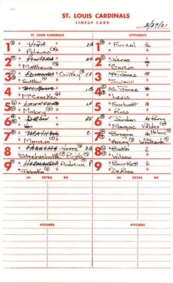 A lineup card from a 2001 spring training game between the St. Louis Cardinals and Atlanta Braves
