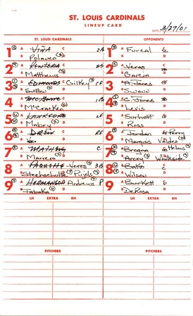 A lineup card for a 2001 spring training game between the Atlanta Braves and St. Louis Cardinals.