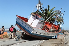 The 2010 tsunami carried this fishing boat ashore.