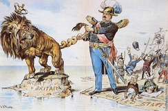 President Cleveland twists the tail of the British Lion, cartoon in Puck by J.S. Pughe, 1895