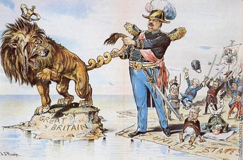 U.S. President Grover Cleveland twisting the tail of the British Lion as Americans cheer in the Venezuelan crisis of 1895; cartoon in Puck by J.S. Pughe