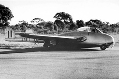 The Vampire F1 A78-1 after crash landing at RAAF Base Point Cook in 1947