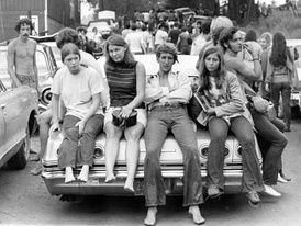 Young people near the Woodstock festival in August 1969