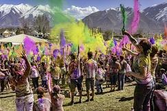 A celebration of Holi Festival in the United States