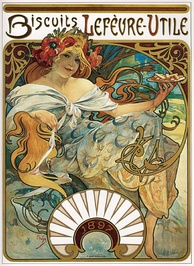 Alphonse Mucha, Advertise with Biscuits Lefèvre-Utile, 1897