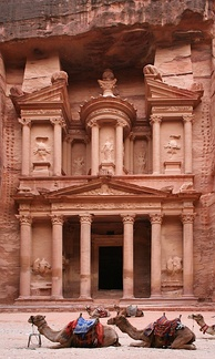 Al-Khazneh (the treasury) in the ancient city of Petra, carved into the rock in 312 BC by the Arab Nabataeans.