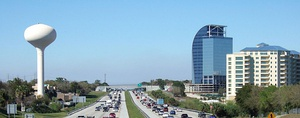 Skyline of Altamonte Springs viewed from Interstate 4, with the unfinished Majesty Building in the background.