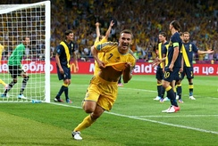 Ukrainian footballer Andriy Shevchenko celebrates a goal against Sweden at Euro 2012.