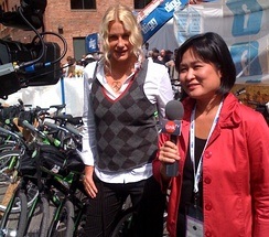 Hannah being interviewed by Link TV during the 2008 Democratic National Convention in Denver