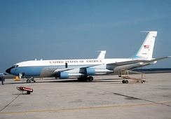 VC-135B Stratolifter, AF Ser. No. 62-4126, used for VIP transport parked on the flight line at Andrews AFB, Maryland