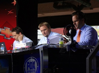 Chris Rose (left), Pierzynski (center), and Eric Karros (right) during the pregame show of the 2011 World Series