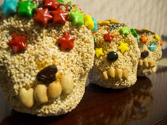 Skull shapes made of amaranth and honey for Day of the Dead in Mexico