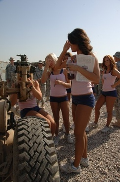 Dallas Cowboy Cheerleaders entertain troops in Iraq.