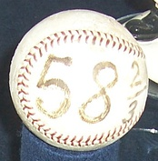 The ball thrown for the final out of Drysdale's 1968 consecutive scoreless innings streak.