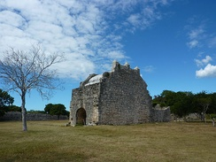Ruins of a mission church built by the Spanish in Dzibilchaltún ca. 1590–1600 from the stone taken from the nearby Maya temples
