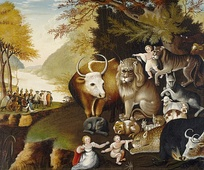 "Peaceable Kingdom. Oil painting by Edward Hicks, alluding to imagery from Isaiah 11:6 ""The wolf also shall dwell with the lamb, and the leopard shall lie down with the kid; and the calf and the young lion and the fatling together; a little child shall lead them.""."