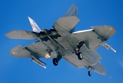F-22 with external weapons pylons