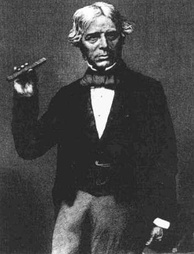 Faraday holding a type of glass bar he used in 1845 to show magnetism affects light in dielectric material.[52]