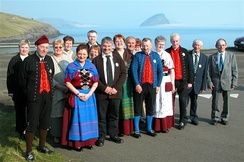 Faroese folk dancers, some of them in national costume