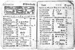 A Swedish calendar page from February 1712 with name days listed. Note that in Sweden, February 1712 had 30 days.