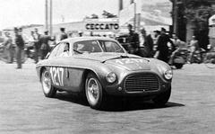 1950 Ferrari 166 MM/195S Berlinetta by Carrozzeria Touring, at the Coppa della Toscana. Chassis #0026M. Outright winner of the 1950 Mille Miglia, driven by Gianni Marzotto in a double-breasted suit.