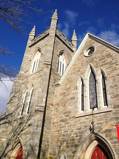First Congregational Church in Bristol, RI. Third edifice built in 1855. Church founded in 1680.