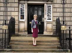 Sturgeon outside Bute House in Edinburgh upon her appointment as First Minister, 2014