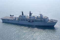 HMS Albion, an Albion-class landing platform dock on exercise with the Netherlands Marine Corps in 2008