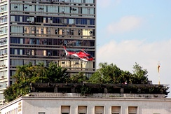 Helicopter taking off from the São Paulo City Hall