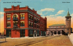 Hotel Bristol and the Union Depot at El Paso, Texas (postcard, circa 1912)
