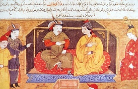 Hulagu Khan, grandson of Genghis Khan and founder of the Ilkhanate, seated with his Eastern Christian queen Doquz Khatun of the Keraites
