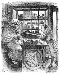 Tenniel's illustration of 'The Old Sheep Shop'. As the book was about a land behind a mirror, Tenniel's picture is a mirror image of the real shop.