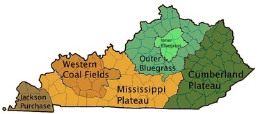 Kentucky's regions (click on image for color-coding information.)