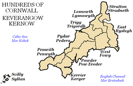 Hundreds of Cornwall in the early 19th century