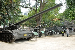 Captured U.S.-supplied armored vehicles and artillery pieces.