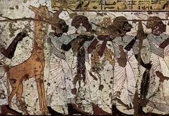 Жираф на древнеегипетской фреске из гробницы Хэйе (ок. 1358-1350 до н.э.), Фивы