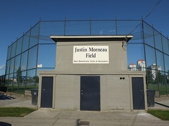 Baseball diamond #5 in Moody Park was named Justin Morneau Field in honor of Morneau on February 2, 2008.