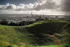 Cone of Maungawhau / Mount Eden, looking into the city