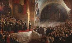The Big Picture, the opening of the first Parliament of Australia on 9 May 1901, painted by Tom Roberts.