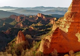 Landscape of Las Médulas, Spain, the result of hydraulic mining on a vast scale by the Ancient Romans