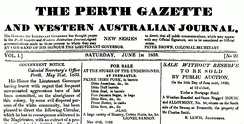 Masthead from the Perth Gazette and Western Australian Journal, published Saturday 1 June 1833.