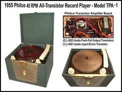 Philco all-transistor model TPA-1 phonograph, developed and produced in 1955